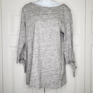 Old Navy Gray Boatneck Tie Bottom Sleeve Sweater